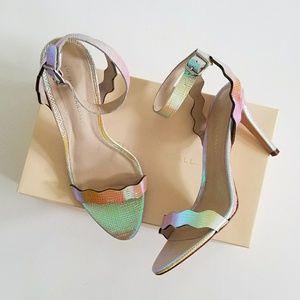 LOEFFLER RANDALL holographic pearl Amelia heels